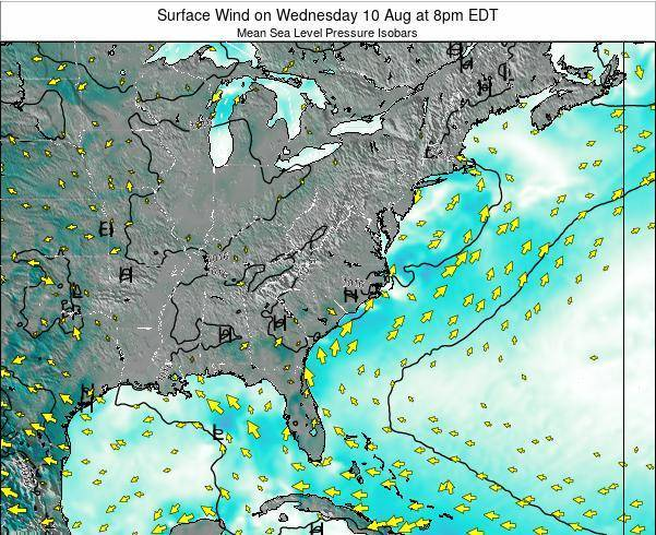 North-Carolina Surface Wind on Tuesday 23 Sep at 2am EDT