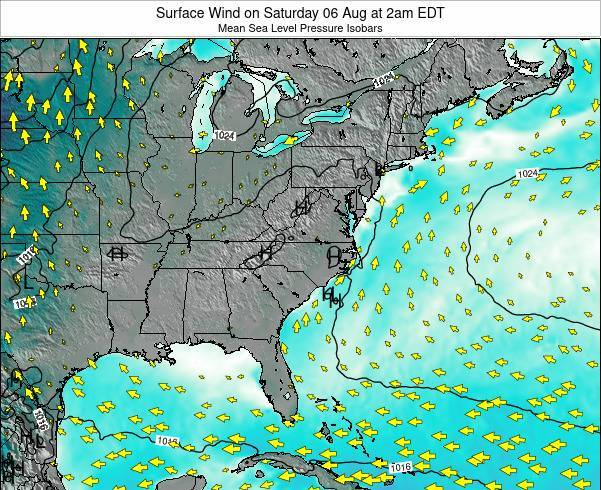 North-Carolina Surface Wind on Tuesday 29 Apr at 8am EDT