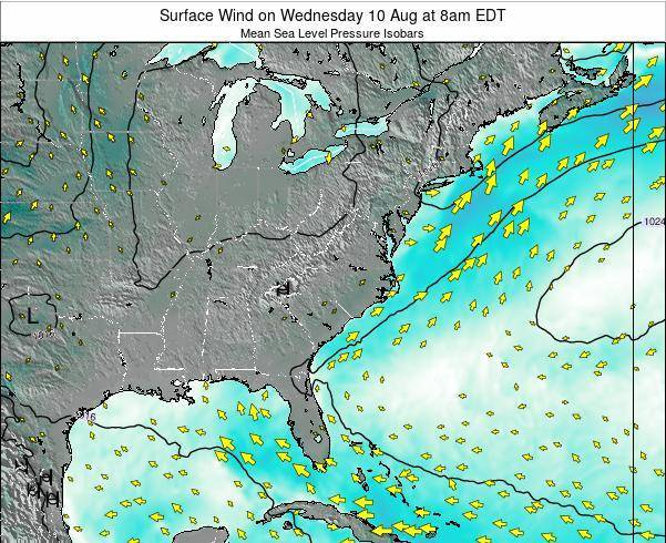 North-Carolina Surface Wind on Tuesday 26 Sep at 2am EDT