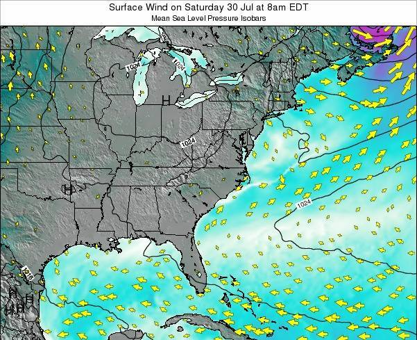 North-Carolina Surface Wind on Thursday 02 Mar at 7am EST