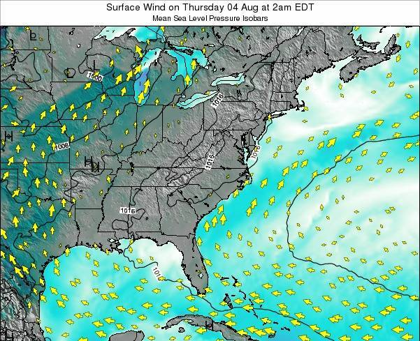 North-Carolina Surface Wind on Wednesday 30 Jul at 2pm EDT