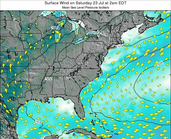 North-Carolina Surface Wind on Saturday 14 Dec at 7am EST
