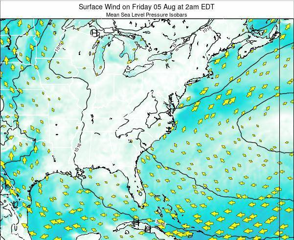 North-Carolina Surface Wind on Thursday 16 Aug at 2am EDT map