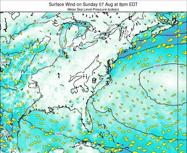 North-Carolina Surface Wind on Sunday 30 Apr at 8pm EDT