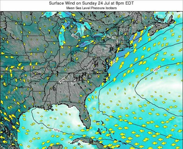 North-Carolina Surface Wind on Saturday 02 Aug at 2pm EDT