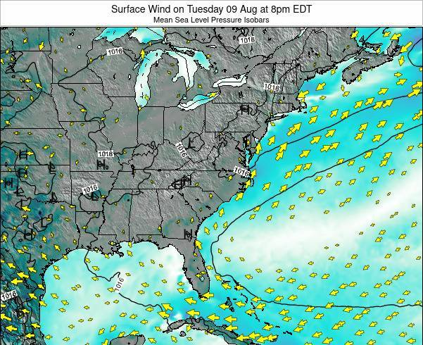 North-Carolina Surface Wind on Friday 13 Dec at 7pm EST