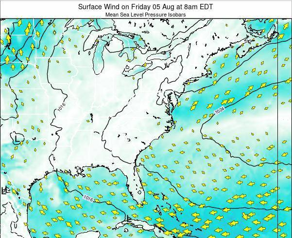 North-Carolina Surface Wind on Monday 10 Mar at 2am EDT