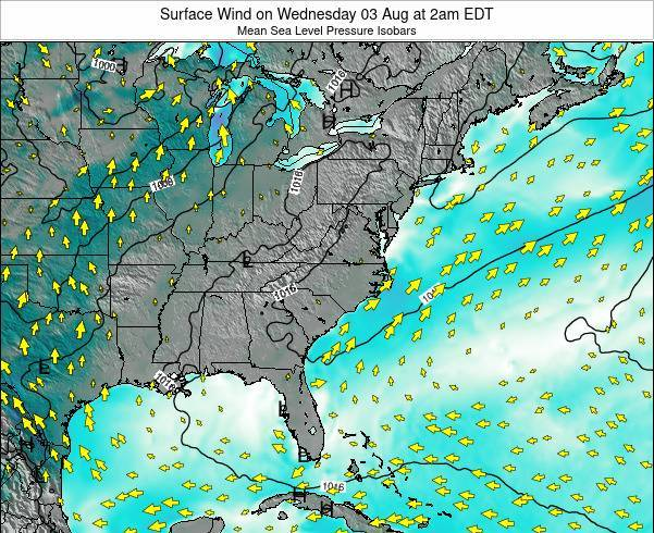 North-Carolina Surface Wind on Monday 09 Dec at 1pm EST