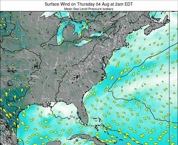 North-Carolina Surface Wind on Sunday 20 Apr at 8pm EDT