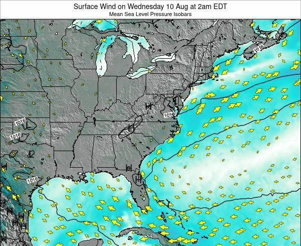 North-Carolina Surface Wind on Thursday 26 May at 8am EDT
