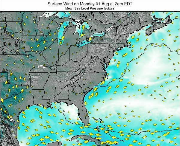 North-Carolina Surface Wind on Wednesday 30 Jul at 2am EDT