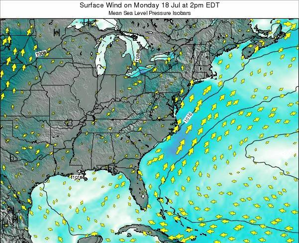 North-Carolina Surface Wind on Thursday 21 Aug at 2am EDT
