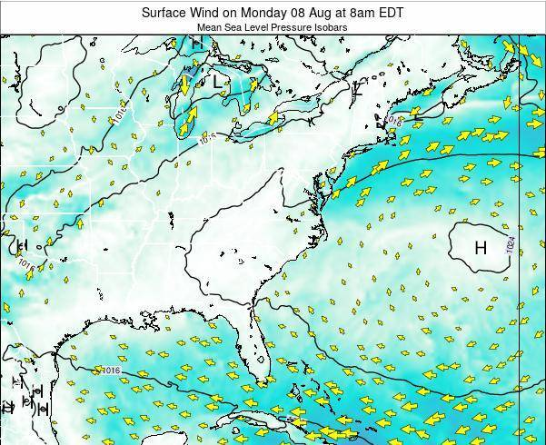 North-Carolina Surface Wind on Thursday 24 Apr at 8am EDT