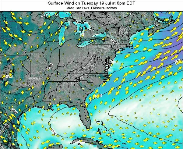 North-Carolina Surface Wind on Friday 18 Apr at 2pm EDT