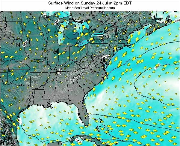 North-Carolina Surface Wind on Thursday 12 Dec at 7am EST