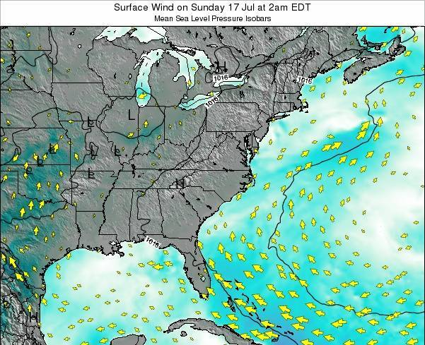 North-Carolina Surface Wind on Thursday 24 Jul at 2am EDT