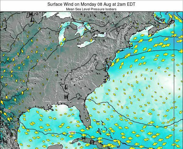 North-Carolina Surface Wind on Thursday 13 Mar at 8am EDT