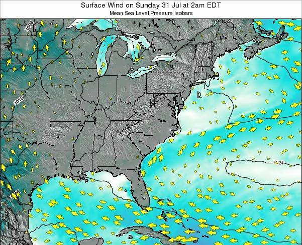 North-Carolina Surface Wind on Saturday 16 Dec at 7pm EST map