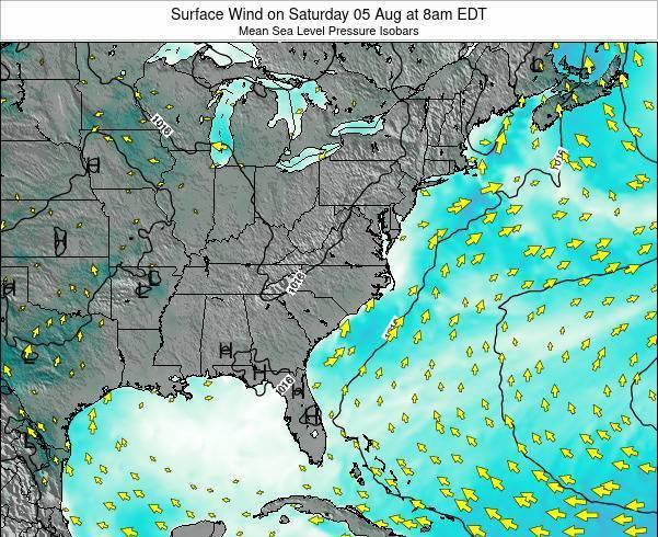 North-Carolina Surface Wind on Wednesday 22 Nov at 7am EST map