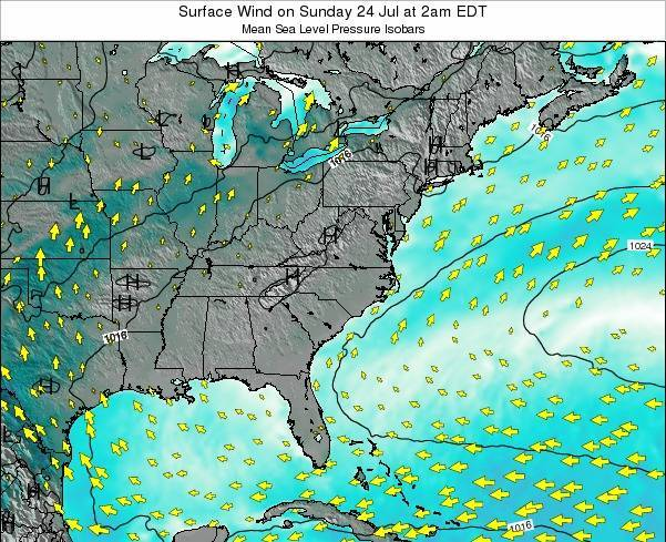 North-Carolina Surface Wind on Tuesday 26 Jul at 8pm EDT