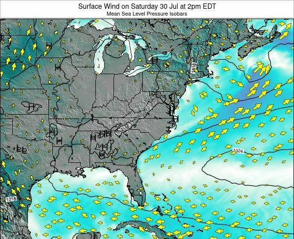 North-Carolina Surface Wind on Friday 13 Dec at 1am EST
