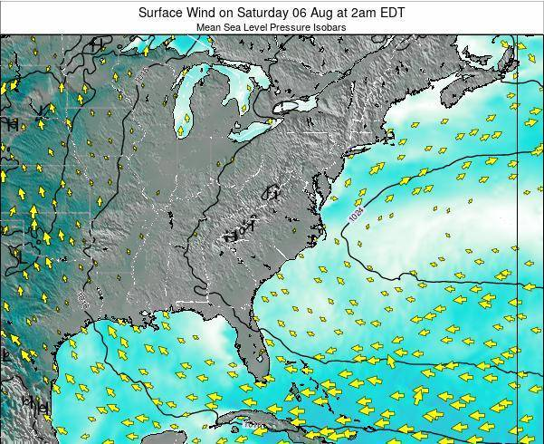 North-Carolina Surface Wind on Friday 25 Jul at 2pm EDT