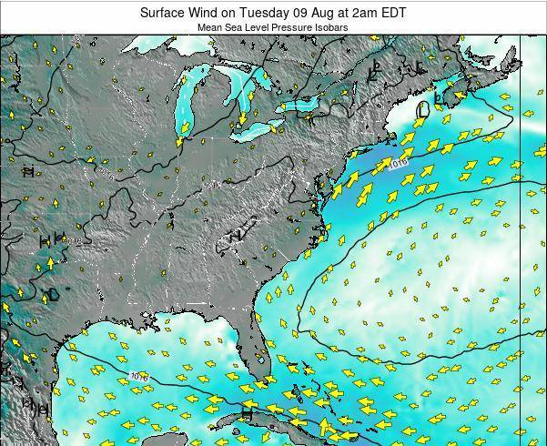 North-Carolina Surface Wind on Sunday 17 Dec at 1pm EST map