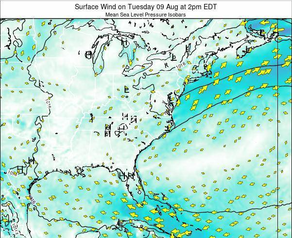 North-Carolina Surface Wind on Tuesday 23 Sep at 2pm EDT