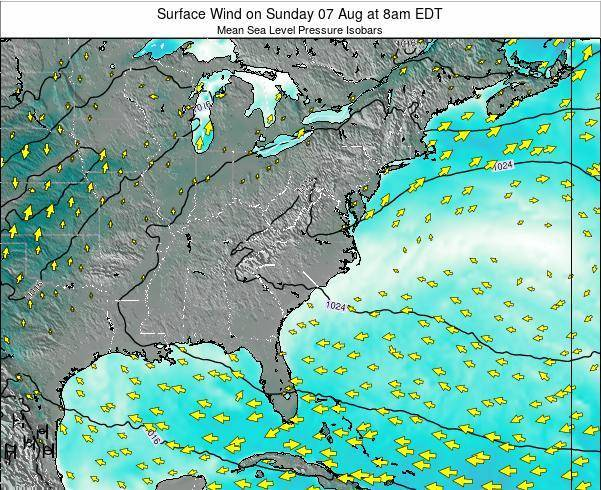 North-Carolina Surface Wind on Wednesday 23 Apr at 8pm EDT