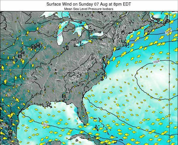 North-Carolina Surface Wind on Friday 25 Apr at 8pm EDT