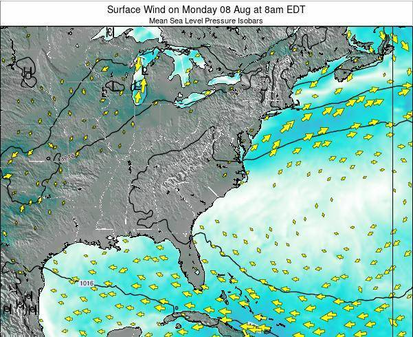 North-Carolina Surface Wind on Thursday 26 May at 8pm EDT