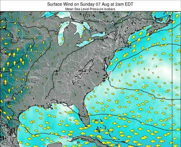 North-Carolina Surface Wind on Thursday 13 Mar at 2am EDT