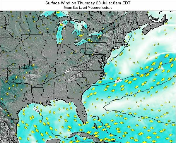 North-Carolina Surface Wind on Sunday 27 Jul at 2pm EDT