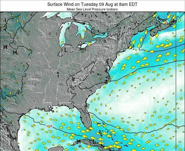 North-Carolina Surface Wind on Thursday 13 Mar at 2pm EDT