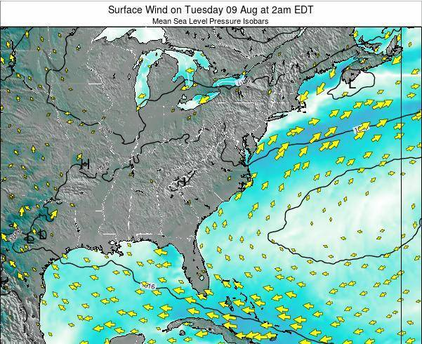North-Carolina Surface Wind on Sunday 30 Oct at 8pm EDT