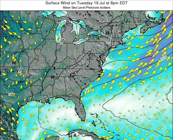 North-Carolina Surface Wind on Saturday 01 Apr at 2am EDT
