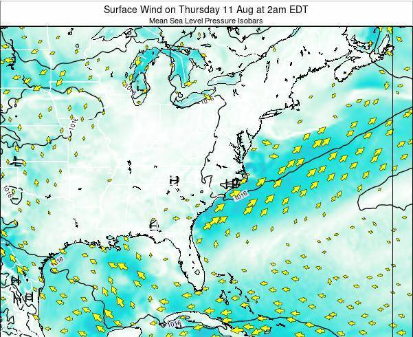 North-Carolina Surface Wind on Thursday 12 Dec at 1am EST
