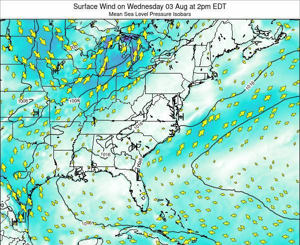 North-Carolina Surface Wind on Tuesday 22 Apr at 8pm EDT
