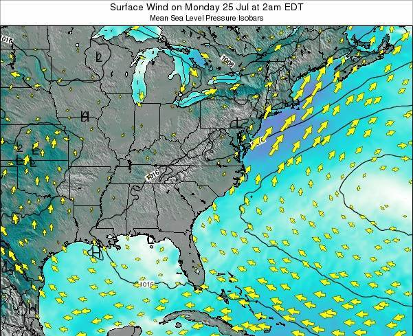 North-Carolina Surface Wind on Monday 28 Jul at 2am EDT