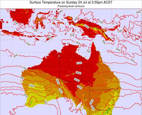 Northern-Territory Surface Temperature on Wednesday 22 May at 9:30pm ACST map