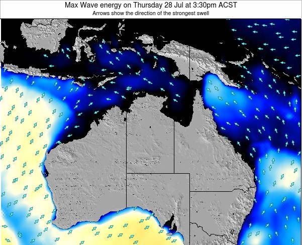 Northern-Territory Max Wave energy on Saturday 25 May at 3:30pm ACST map