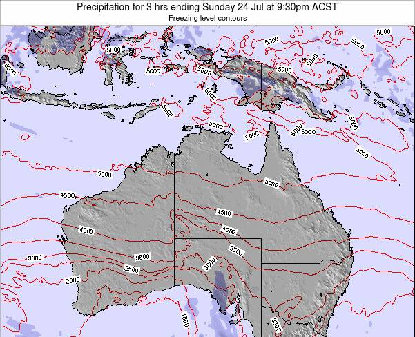 Northern-Territory Precipitation for 3 hrs ending Friday 24 May at 3:30pm CST map