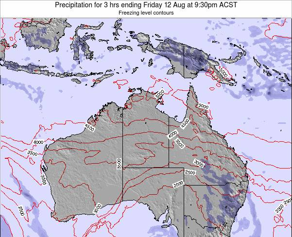 Northern-Territory Precipitation for 3 hrs ending Thursday 23 May at 3:30pm CST map