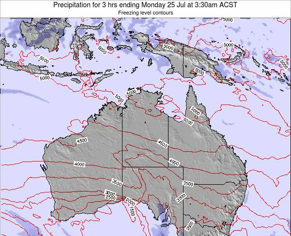 Northern-Territory Precipitation for 3 hrs ending Monday 27 May at 3:30pm CST map