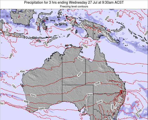 Northern-Territory Precipitation for 3 hrs ending Wednesday 22 May at 9:30pm CST map