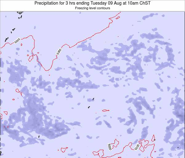 Northern Mariana Islands Precipitation for 3 hrs ending Tuesday 25 Jun at 10am ChST map