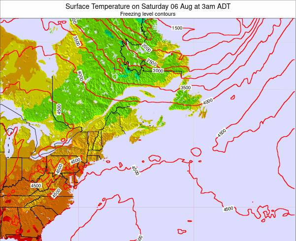 New-Brunswick Surface Temperature on Tuesday 25 Jun at 3am ADT map