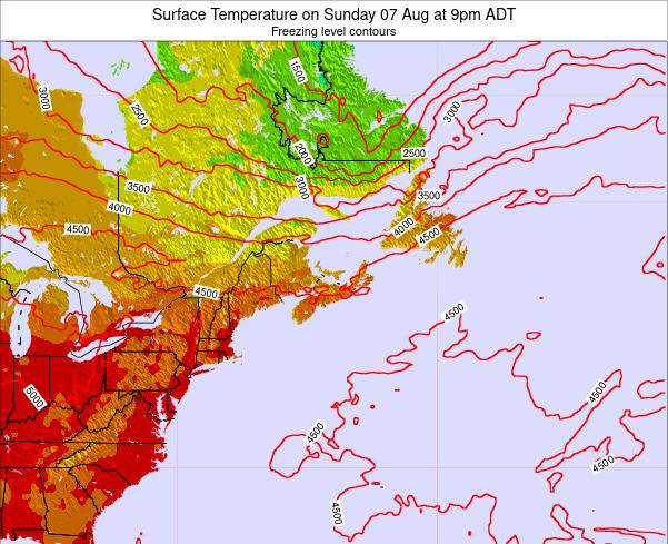 New-Brunswick Surface Temperature on Tuesday 25 Jun at 9pm ADT map