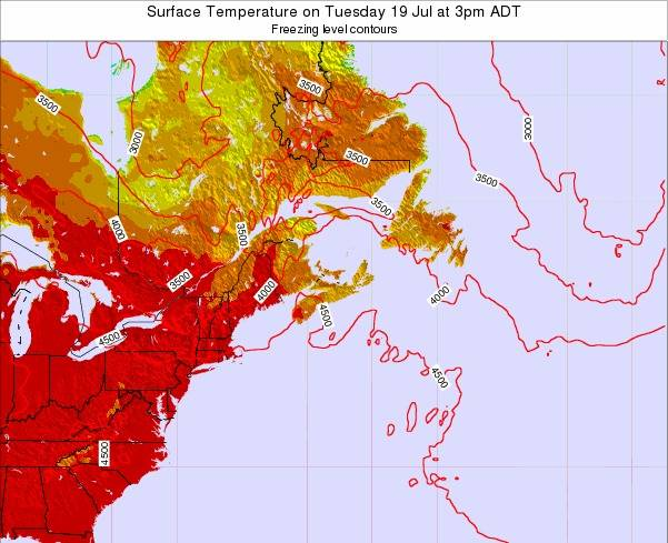 New-Brunswick Surface Temperature on Tuesday 21 May at 3pm ADT map