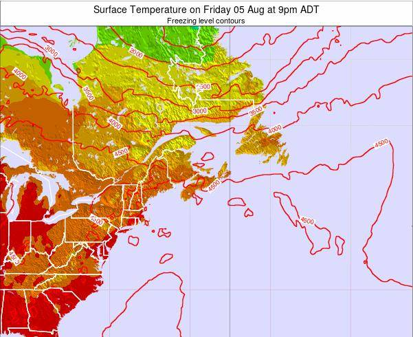 Nova-Scotia Surface Temperature on Saturday 25 May at 9pm ADT